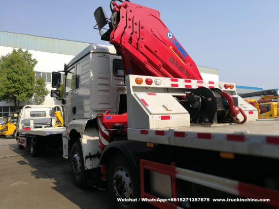 Heavy Car Carrier Flatbed Truck Mounted 10 Ton Knuckle Crane - Shacman F3000, L3000, M3000, H3000 Reovery Wrecker