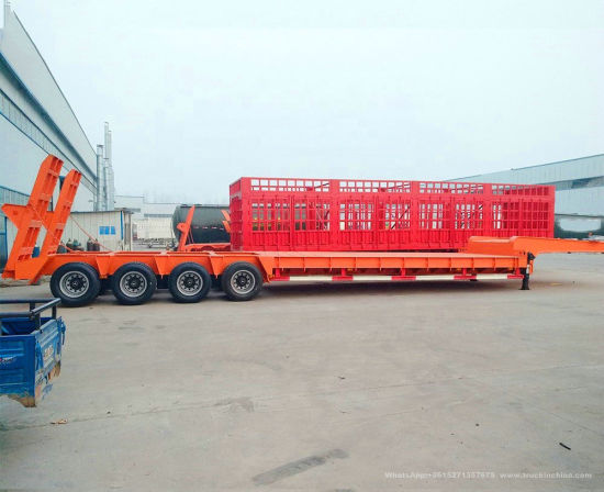 Heavy Haul Equipment Trailer 4 Axles Low Bed Semi Trailer 60ton 80ton 100ton