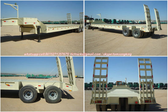 4 Axle 2 Line Low Bed Trailer Payload 80tons