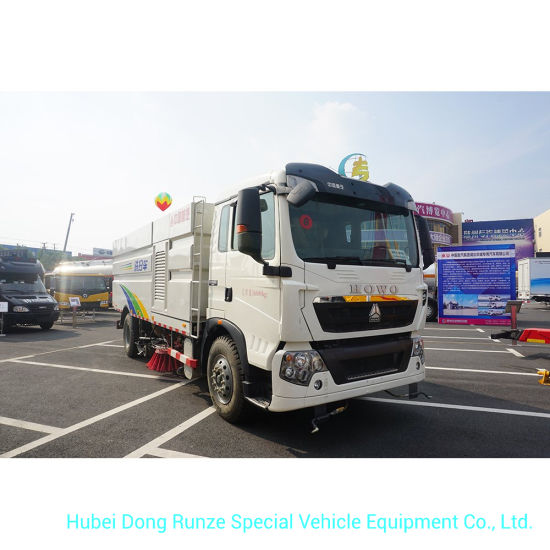 HOWO A7 Outdoor Road Sweeper Truck 8cbm Garbage 2 Cbm Water Stainless Steel 4X2 -Rhd. LHD