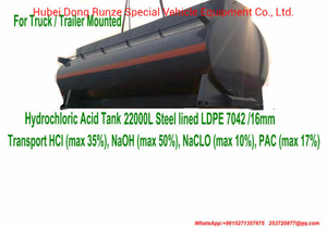 Trailer Mounted Hydrochloric Acid Tank Lined LLDPE 7042 21000 Liter, 22000 Liter, 25000 Liter