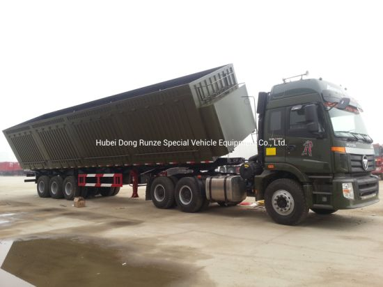 Heavy Duty 3 Axles Tipper Trailer 100ton Side Tipper