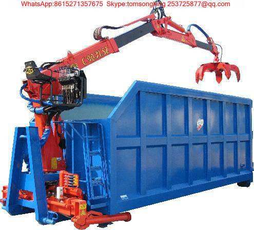 Hooklift Loader Bin with Fresh Garlic Grap Loading Crane for Truck Mounted Bucket