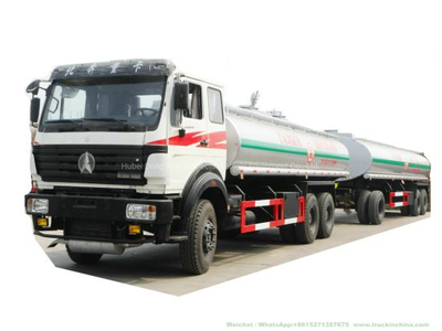 60t 6 Axles Beiben Truck Tanker Pup Dolly Tank Trailers 60t for Hauling Liquids Potable Water, Fresh Water, Fuel, Crude Oil, Produced Water