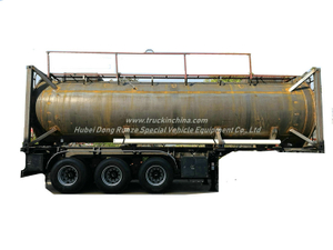 30FT UN1789 Hydrochloric Acid ISO Tank Container 26KL -28KL Steel Tank Lined LDPE 16mm
